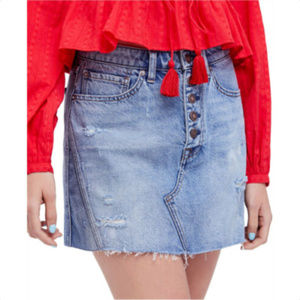 FREE PEOPLE Womens A-Line Mini Skirt - Denim